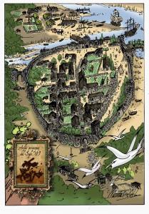 22.TULUERGO.AVILES MEDIEVAL.dibujjo Marinas. 209x300 El Tuluergo, o la decadencia del río que bañó la historia avilesina
