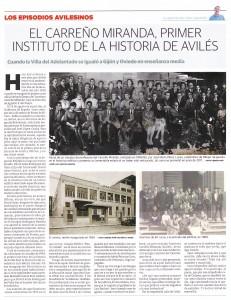22.carreño miranda PAGINA LVA TOTAL1 231x300 El Carreño Miranda, primer instituto de la historia de Avilés